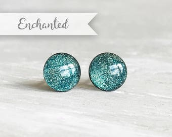 Metallic teal earrings, little shimmer earrings, Post earrings, Gifts for her, Gifts under 20, Small earrings, Ear Sugar earrings Teal Studs