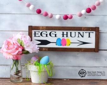 Egg Hunt Sign / Wood Easter Sign / Happy Easter Sign / Easter Decorations / Framed Easter Sign / Farmhouse Easter Sign / Easter Decor