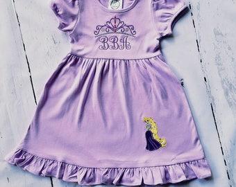 Girl Monogram Dress, Monogram Holiday Dress, Girl Ruffle Dress, Toddler Monogram Dress, Toddler Birthday Dress, Girl Princess Dress