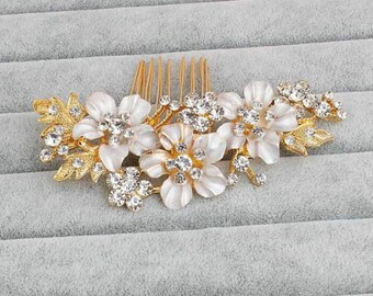 New design gold flower bridal comb hair accessories
