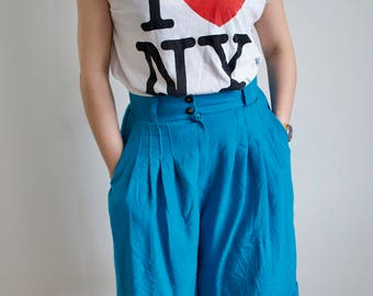 Women's 80's Bright Blue Culottes