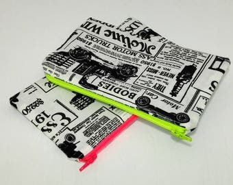 Newsprint Ads Novelty Zipper Pouch - makeup bag; pencil case; gift for her; cosmetic bag; carry all; gadget case; medicine bag