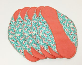 "Salmon on Turquoise Flowers Reusable Pantyliner with Wings (9.5"") - menstrual pad; panty liner; cloth pads; cotton; washable liner; flannel"