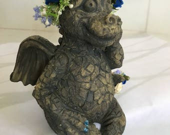Dragon, mythical dragon, happy dragon, dragon ornament, dragon figure, OOAK, garden dragon, dragon gift, pagan gift