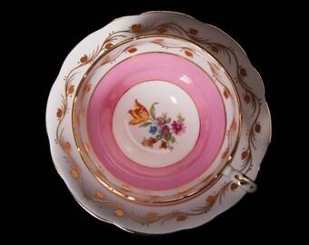 Pink E.B. Foley Bone China Teacup and Saucer