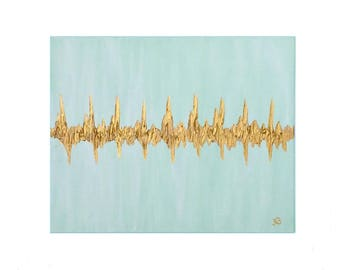 Heartbeat Art, Baby Heartbeat, 16x20, Nursery Decor, Heartbeat Painting, Sonogram Painting, Audio Recording, Baby Gift, Ultrasound Painting