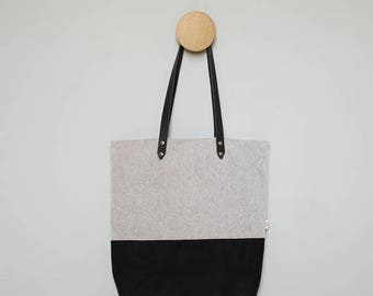 SUMMER SALE -- Shopper - Black Waxed Canvas - Leather Handles and Optional Personalization