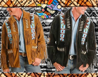 native american clothing/fringe jacket/leather jacket/mens/70s boho/hippie/jackets and coats/vintage clothing/Men clothing/fringe leather