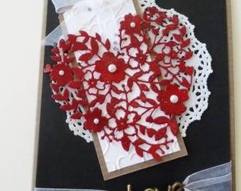 Custom Love card, Handmade Greeting card, Handmade Love Card,  Heart, Anniversary card, Valentine Card, Wedding Card, Any Occasion, Die Cut
