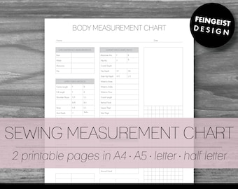 SEWING MEASUREMENT CHART. Printable Pages/Planner Inserts. 4 Sizes. Instant Download. Letter - Half Letter - A4 - A5