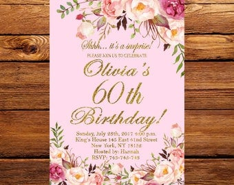 60th Birthday Invitation, Floral Women Birthday Invitation, Pnk Birthday Invite, Women Birthday Invitation 40th, 50th, 70th, 80th 152