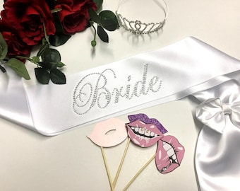 Rhinestone sash Bachelorette Sash, Bridal Sash, Bridesmaid Sash ,Bridal Gift, Bride ,Wedding sash ,Personalized, Bride to be ,Bridal Shower