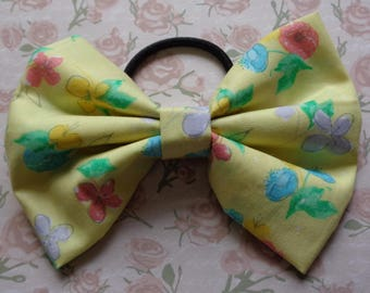 Yellow Buttercup Flower Print Fabric Hair Bow