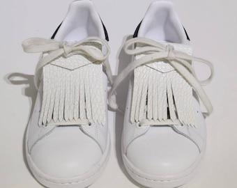 White Croc leather fringe