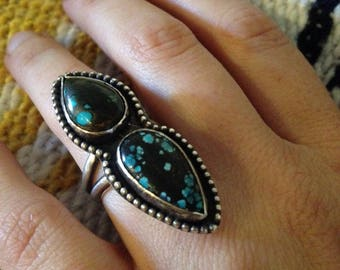 Chinese turquoise and sterling silver ring, size 7