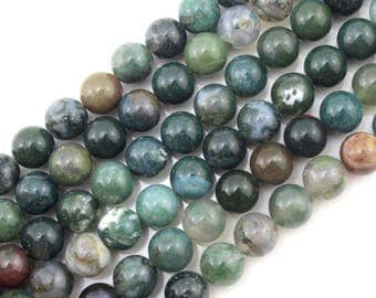 "Indian Agate Beads, 15.5"" Full strand, Natural Round Wholesale Gemstone 4mm 6mm 8mm 10mm-NC155"