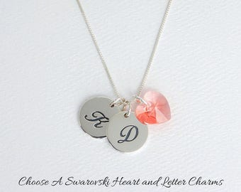 Sterling Silver Letter Charm and Swarovski Crystal Heart Birthstone Necklace, Personalized Monogram Initial Tag Necklace and Gift Card