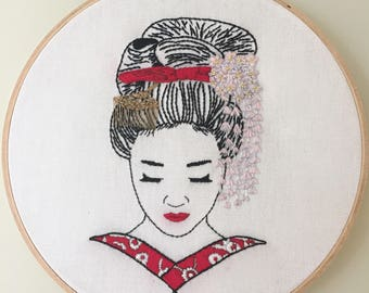 Contemporary Hand Embroidery Pattern *Hanako* Digital Download