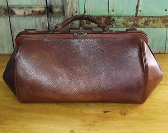 Vintage French Leather Gladstone / Doctors Bag Vintage Luggage Travel