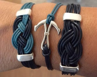 Leather Bracelet with Navy anchor or bow
