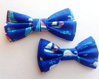 Mens Bow Tie, Dad and Son Bow Ties, Blue Bow Tie, Father Son Bow Ties, Groomsmen Bow Tie, Nautical Bow Tie, Boys Bow Tie  DS727