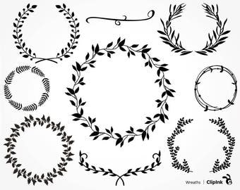 Leaf wreath svg, flower wreath clipart, leaf svg, monogram svg, silhouette boho svg, digital – svg, eps, png, dxf. Cut Print Mug Shirt Decal