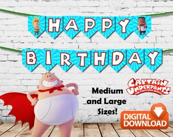 Captain Underpants Happy Birthday Banners Printable