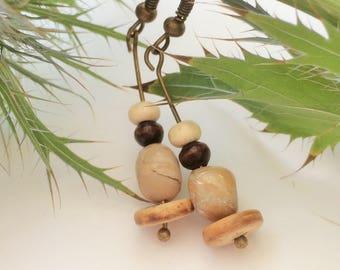 African opal earrings, coconut earrings, natural earrings,light brown earrings, festival earrings, alternative earrings, rustic earrings,