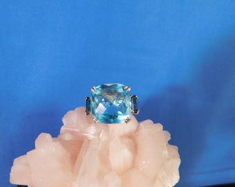 8.25 Ct. Cushion Cut Blue Topaz Three-Stone Ring Sterling Silver