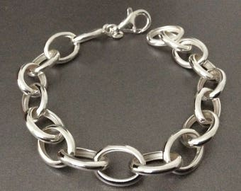 Sterling Silver Chain Link Bracelet / Statement / Accent Bracelet / 925 /