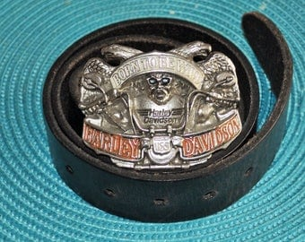 "leather belt and buckle ""born to be wild""Harley Davidson 1992"
