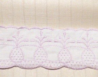 WHITE COTTON RIBBON EMBROIDERED LILAC PINEAPPLE MOTIF