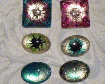 6 CABOCHONS GLASS DECORATED WITH PAINTED NAIL A METALLIZED