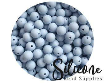 9mm - 5+ Pastel Blue Round Silicone Beads, Silicone Teething Beads, 100% Food Grade Silicone Beads, BPA Free, Silicone Loose Bead