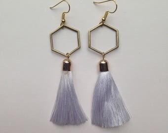 Hexagon Earrings, Statement Earrings, Tassel Earrings, White Tassel Earrings, Dangle Earrings, Geometric Earrings, Boho Earrings, Bridal