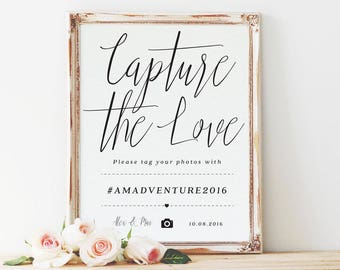 Capture The Love wedding hashtag sign, wedding hashtag sign, instagram sign, wedding hashtag *DIGITAL FILE* / SKU: LNWP01