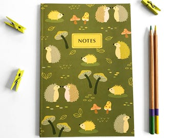 Notebook Journal - Woodland notebook - Woodland Animals - Blank notebook - Cute journal -Stationery -Writing Journal -Notebook set -Hedgehog
