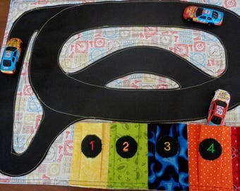 Race Track Play Mat - Fold and Go Car Play Mat - Car Carrier Travel Toy