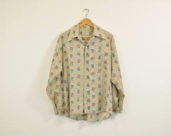 60s Print Shirt, 60s Bohemian Oxford, Faded Thin Worn Button Up Shirt, Vintage 60s Top, Paisley Print Shirt, Long Sleeve Button Up Shirt