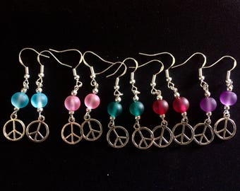 Antique Silver Peace Symbol Earrings with Sea glass