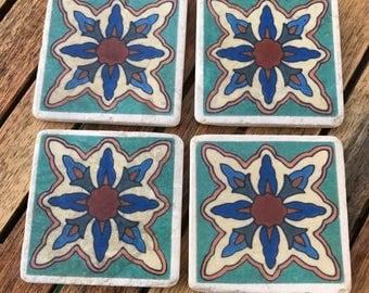 SET OF 4 Moroccan  travertine stone coasters- Handmade