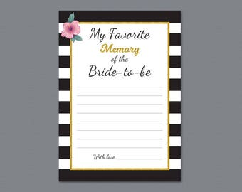 Kate Spade Favorite Memory of the Bride To Be Printable Game Card, Bridal Shower Games, Wedding Shower, Black White Gold Stripes, A014