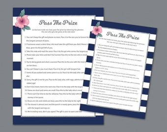 Pass the Prize Game, Pass the Gift, Pass the Parcel Rhyme Printable, Kate Spade, Bridal Shower Games, Navy Stripes, Wedding Shower, A019