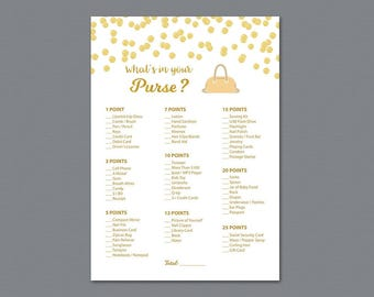 Whats in your Purse Game, Gold Confetti Bridal Shower Games Printable, Purse Hunt Game, Purse Raid, Glitter, Wedding Shower, Bag Hunt, A002