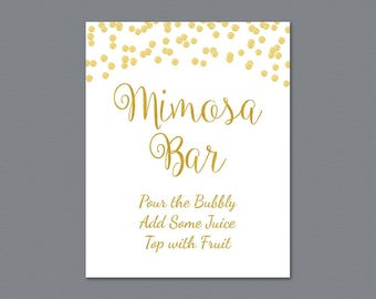 Mimosa Bar Table Sign, Bubbly Bar Sign, Cocktail Drink Sign, Gold Foil Confetti Wedding Sign, Baby Shower, Bridal Shower Decor, A002