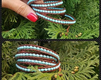 Chan Luu style bracelet wrap beaded leather wrap bracelet, 4 wraps, turquiose glass beads,