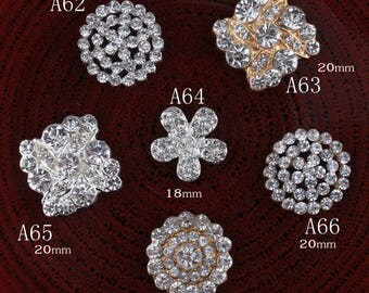 Hot Fix Vintage Round Metal Rhinestone Buttons Bling Flatback Flower Centre Crystal Pearl Buttons for Hair accessories