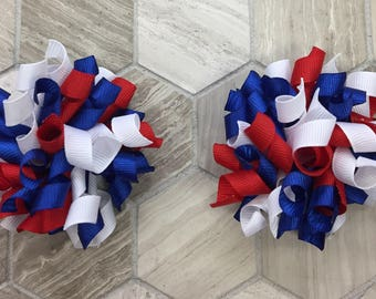 4th of july korker bows, Fourth of July korker bows, set of bows, red white and blur korker bows