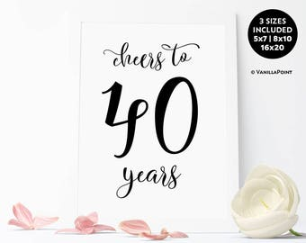 Cheers To 40 Years Sign,40th Birthday Decoration For Men 40th Birthday For Men Printable Rustic Birthday Party Decorations, 40th Anniversary
