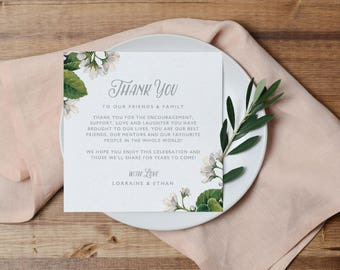 Printable Thank You Letter Template, Wedding Table Thank You Card, Editable Welcome Thank You Note, Welcome Note, Wedding Template KPC05_207